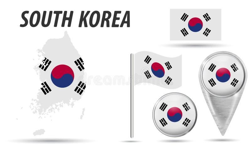 IL SUD COREA Bandiera dell'insieme, puntatore della mappa, bottone, bandiera d'ondeggiamento, simbolo, icona piana e mappa nei co royalty illustrazione gratis