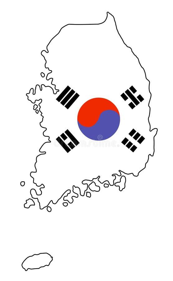 IL SUD COREA Mappa dell'illustrazione di vettore della Corea del Sud illustrazione di stock