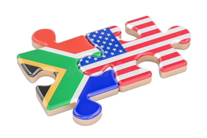 Il Sudafrica e U.S.A. imbarazza dalle bandiere, rappresentazione 3D illustrazione di stock