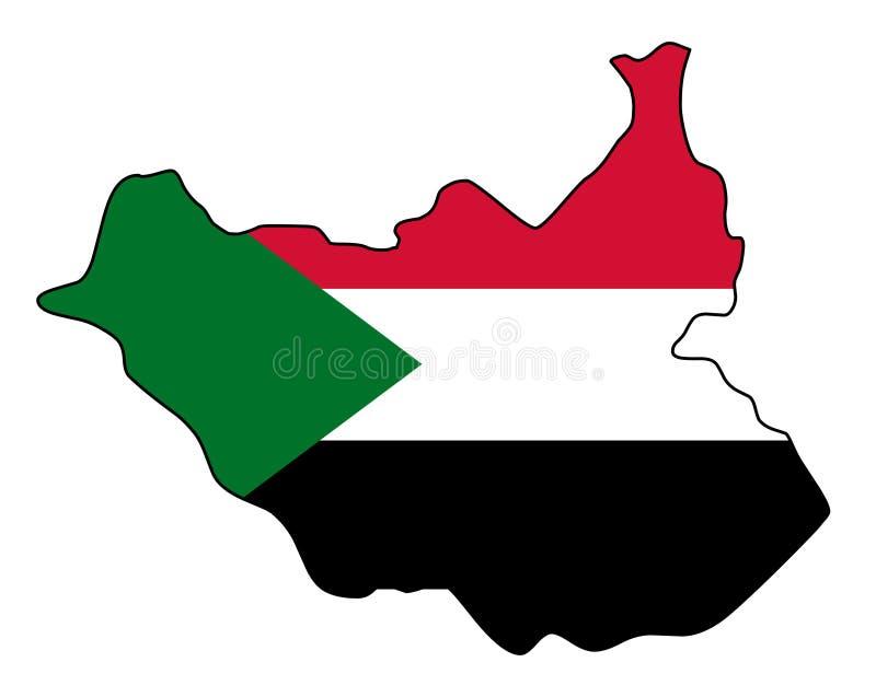 Il Sudan del sud Mappa dell'illustrazione del sud di vettore del Sudan illustrazione di stock