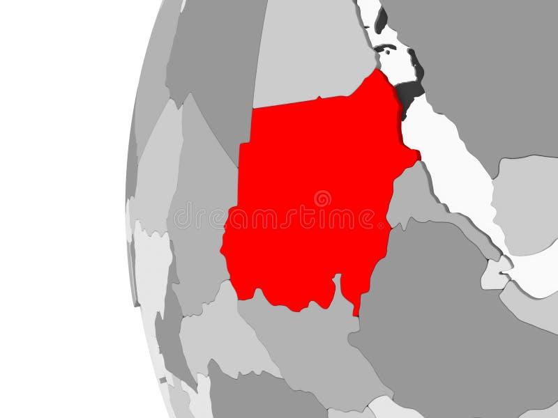 Il Sudan sul globo grigio illustrazione di stock