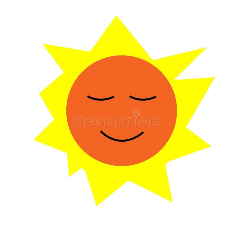 Il Sun è brillante in un giorno luminoso da solo illustrazione vettoriale