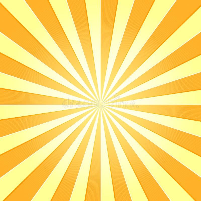 Il Sun con i raggi star il fondo dell'annata della televisione di scoppio illustrazione vettoriale