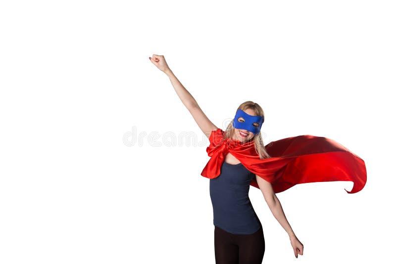 Il supereroe coraggioso della donna ha sollevato la sua mano su immagini stock libere da diritti
