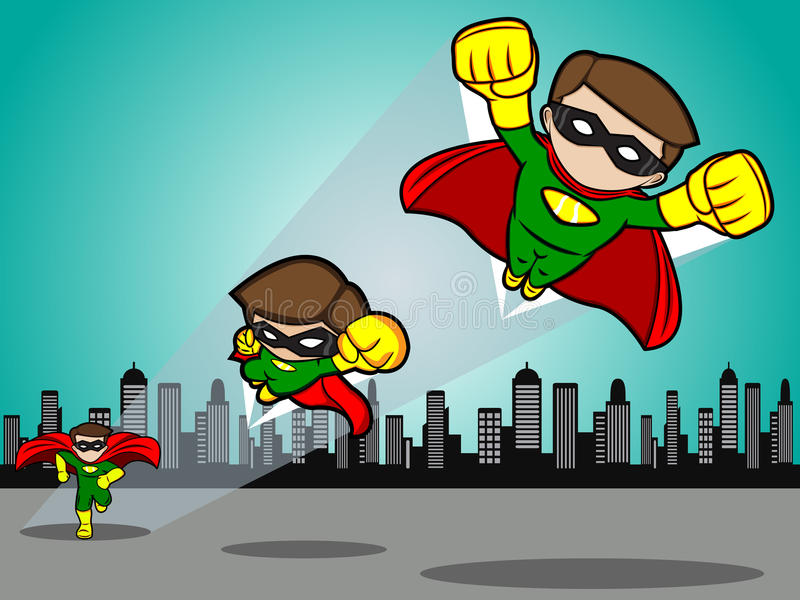 Il supereroe decolla royalty illustrazione gratis