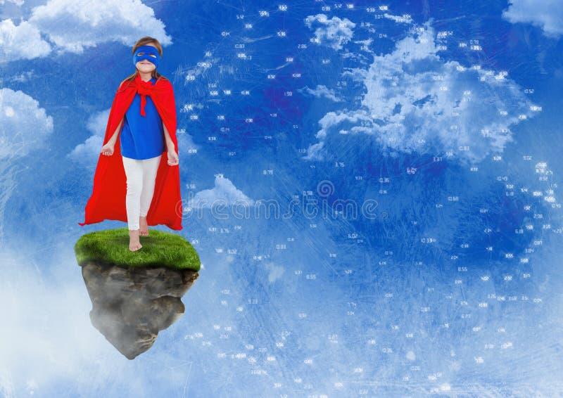 Il supereroe della ragazza sulla piattaforma di galleggiamento della roccia in cielo con i connettori collega illustrazione di stock