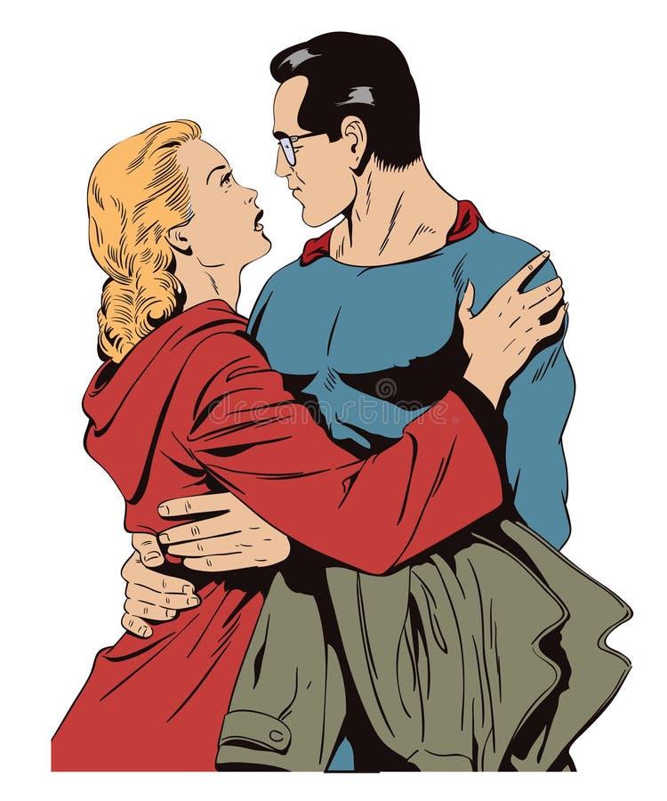 Il supereroe dice arrivederci alla ragazza Illustrazione di riserva illustrazione vettoriale