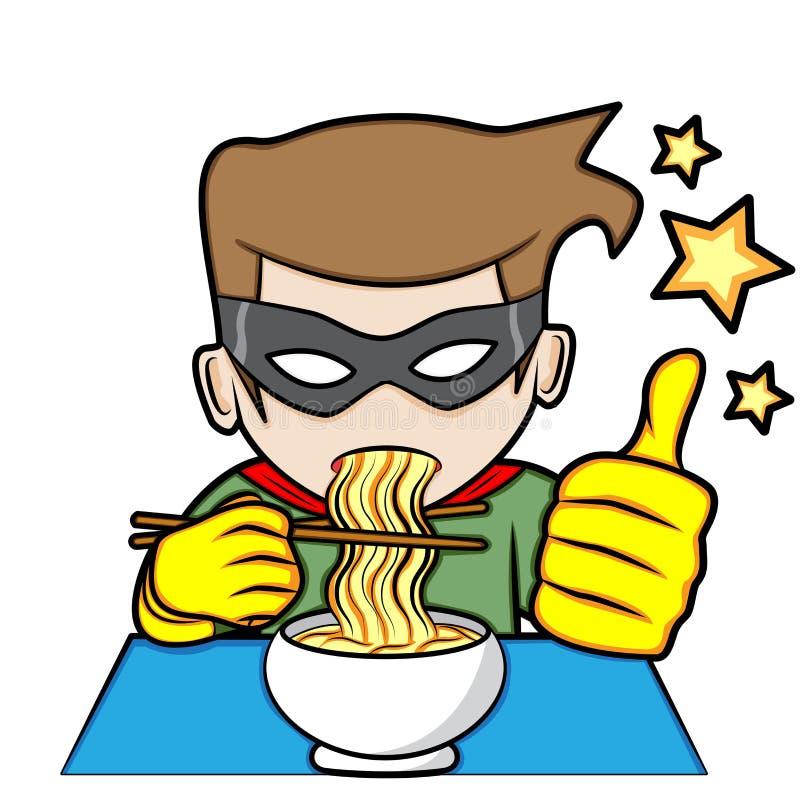 Il supereroe mangia le tagliatelle illustrazione vettoriale