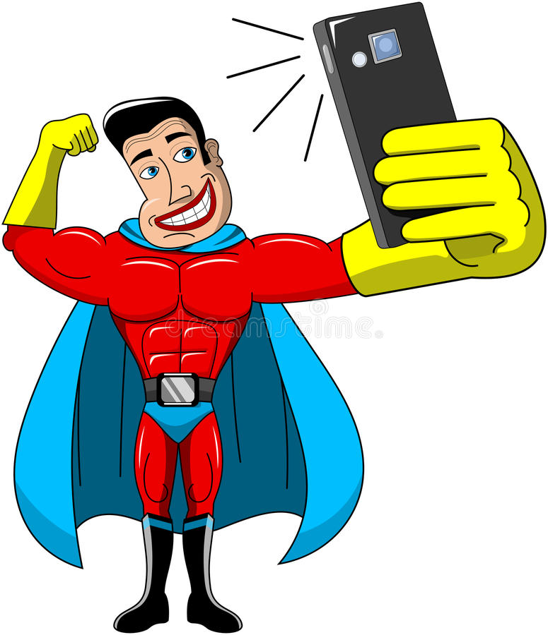 Il supereroe Selfie ha isolato illustrazione vettoriale