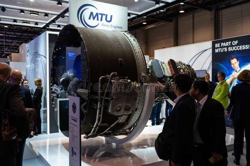 Il supporto dei motori aerei e dell'alto-esclusione del MTU ha innestato la famiglia Pratt & Whitney PW1000G del motore di turbov fotografie stock libere da diritti