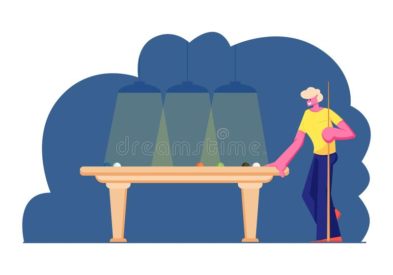 Il supporto di stecca della tenuta del carattere maschio alla Tabella di biliardo con le palle che aspettano il colpo di giro, pe royalty illustrazione gratis