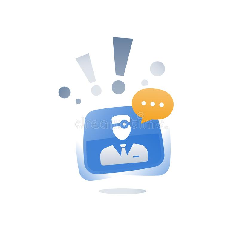 Il supporto e l'orientamento professionali medici, aggiustano la chiacchierata online, il servizio il app, l'aiuto veloce, chiama illustrazione di stock