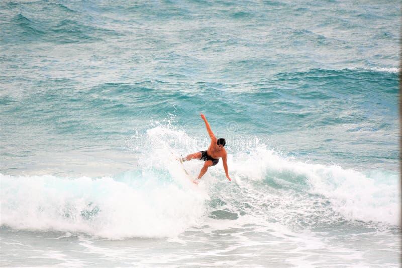 Il surfista conquista un'altra onda fuori dalla linea costiera di Boca Raton Beach fotografia stock