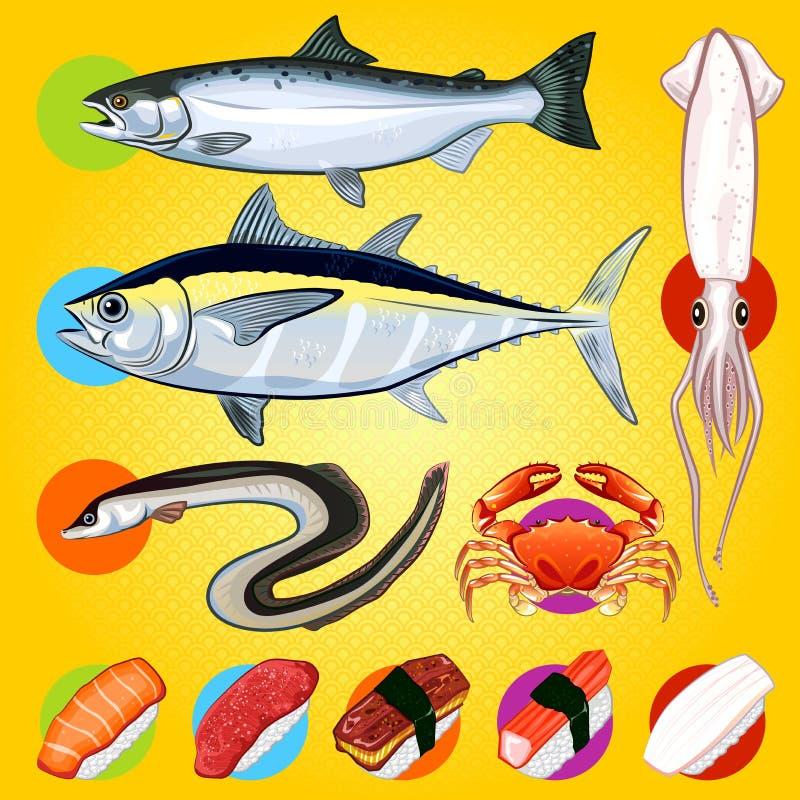 Il sushi giapponese pesca il sashimi illustrazione di stock
