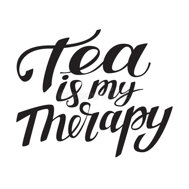 Il tè è la mia terapia Fonte d'annata per progettazione della stampa royalty illustrazione gratis