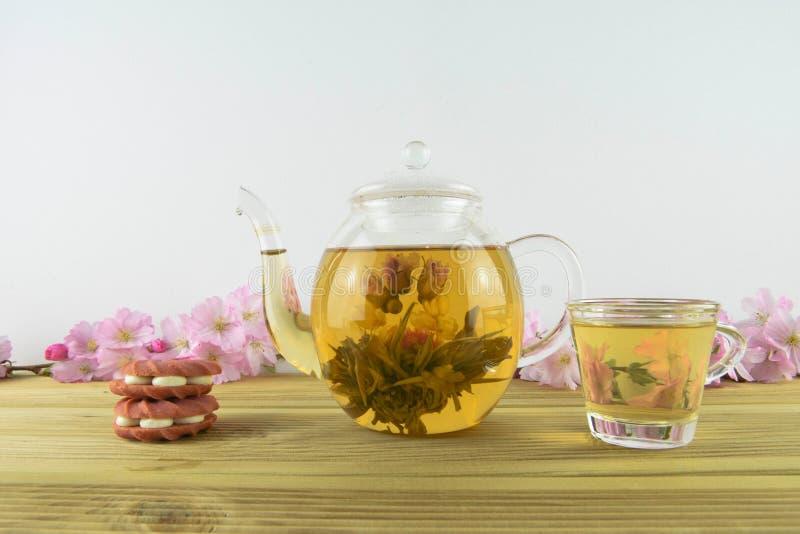 Il tè di fioritura con la fragola dentella i biscotti o i biscotti immagini stock libere da diritti