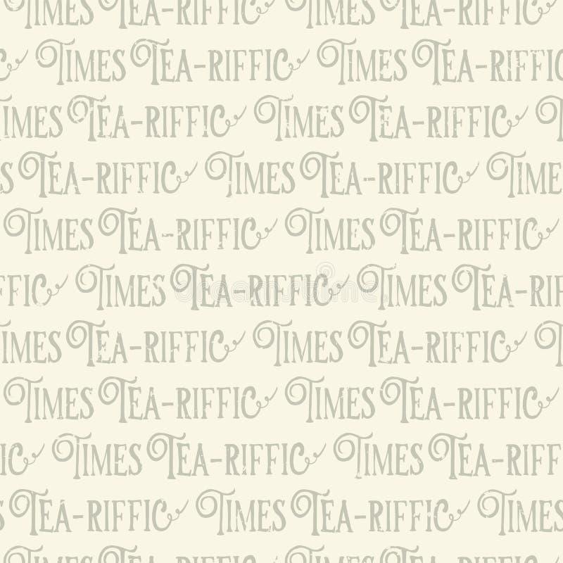 Il tè-riffic cronometra l'iscrizione di gioco di parole Iscrizione di tempo del tè di divertimento Fondo senza cuciture del model illustrazione di stock