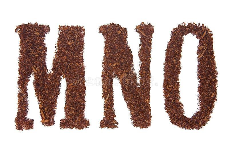 Il tabacco segna MNO con lettere fotografia stock