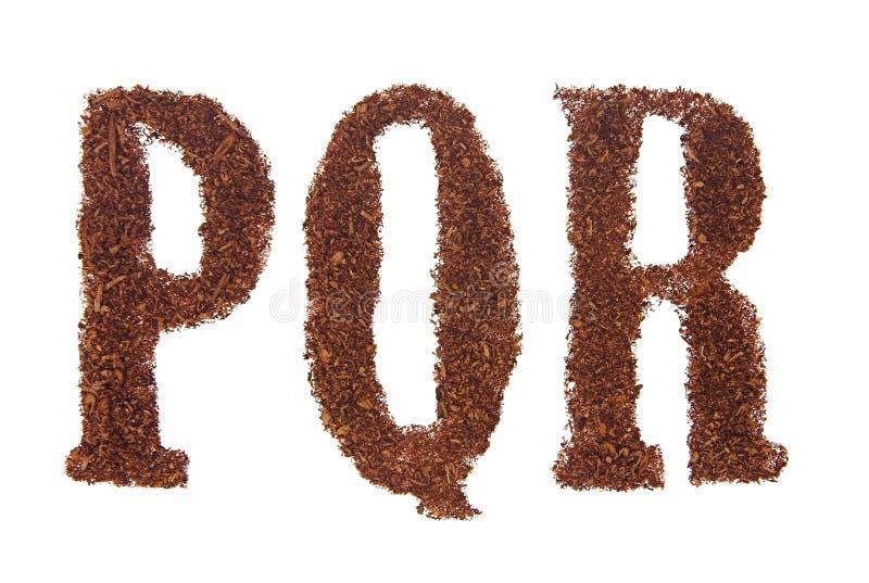 Il tabacco segna PQR con lettere fotografie stock