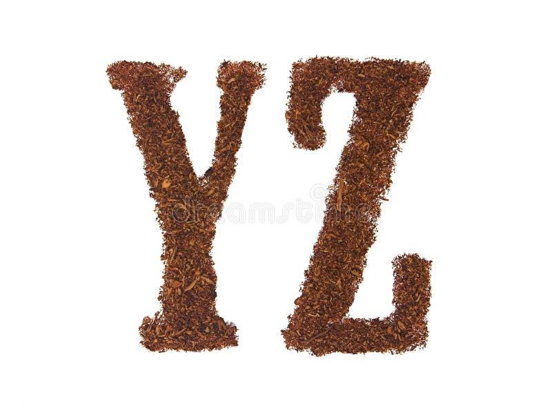 Il tabacco segna YZ con lettere immagine stock