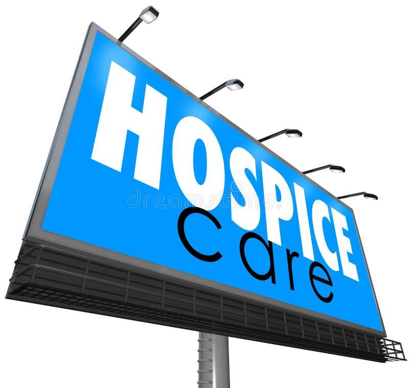 Il tabellone per le affissioni di cura del centro ospedaliero annuncia il servizio medico domestico di professione d'infermiera illustrazione vettoriale