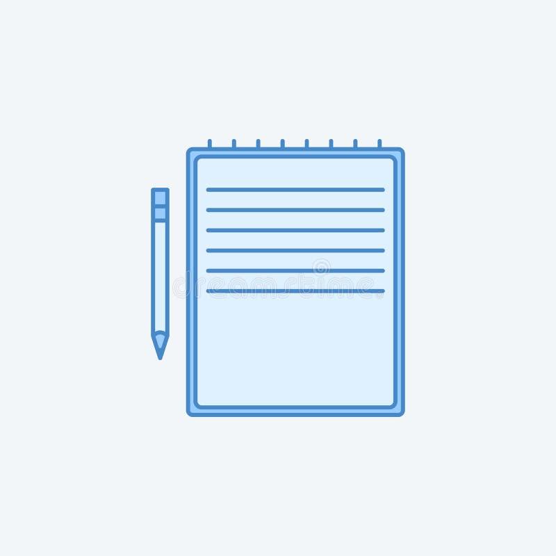 il taccuino giallo e rinchiude 2 la linea colorata icona Illustrazione scura e blu-chiaro semplice dell'elemento outl giallo di c illustrazione di stock