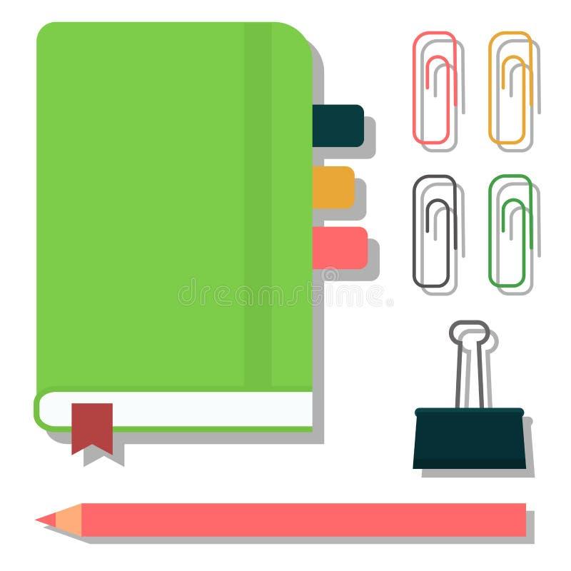 Il taccuino verde ha isolato l'illustrazione in bianco bianca di vettore del cuscinetto del diario di affari della carta di nota  illustrazione di stock