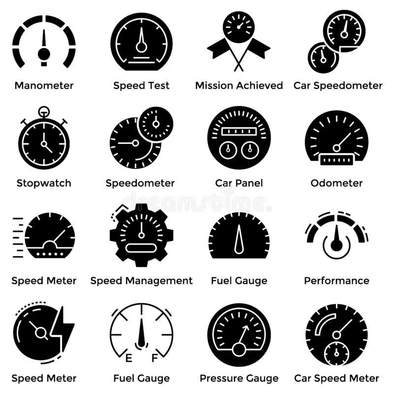 Il tachimetro ha riempito l'insieme delle icone illustrazione vettoriale