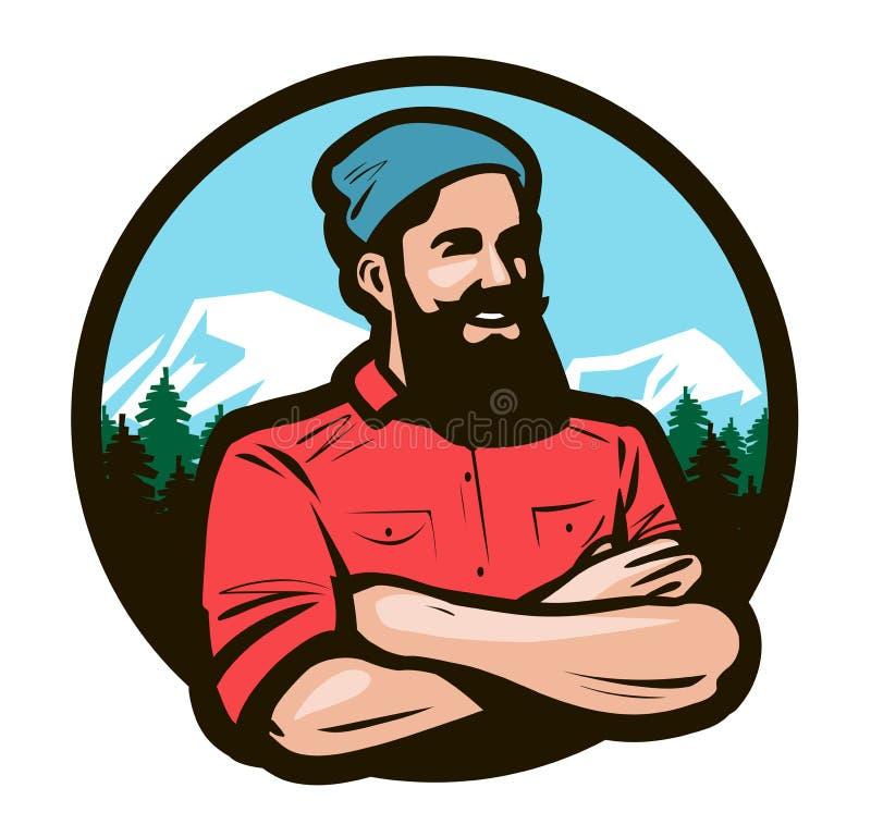 Il taglialegna felice, boscaiolo con le armi ha attraversato sull'illustrazione di vettore del fumetto del petto illustrazione di stock