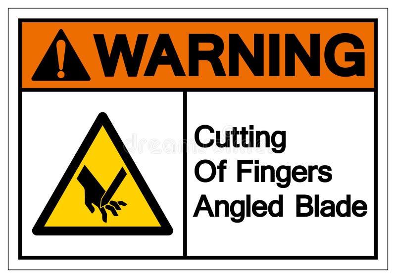 Il taglio d'avvertimento delle dita ha inclinato il segno di simbolo della lama, l'illustrazione di vettore, isolato sull'etichet illustrazione di stock