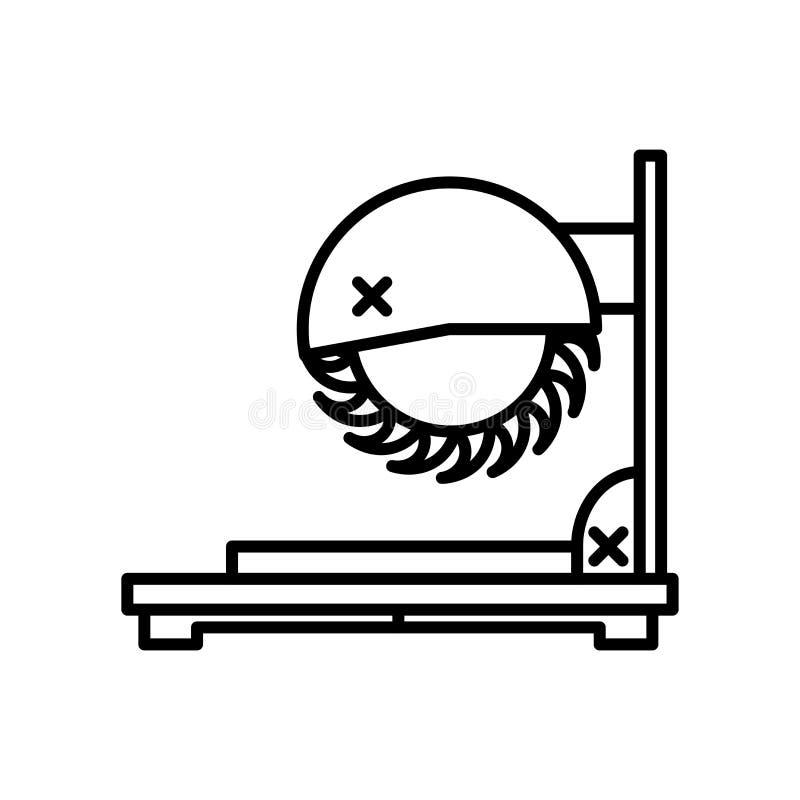 Il taglio ha visto il segno ed il simbolo di vettore dell'icona isolati su fondo bianco, concetto di logo della sega di taglio royalty illustrazione gratis