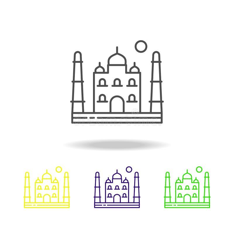 Il Taj Mahal, Asia, India, Agra ha colorato l'icona Può essere usato per il web, il logo, il app mobile, UI, UX royalty illustrazione gratis