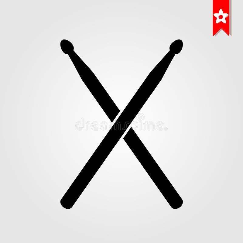Il tamburo attacca l'icona nello stile nero isolata su fondo bianco dru illustrazione di stock
