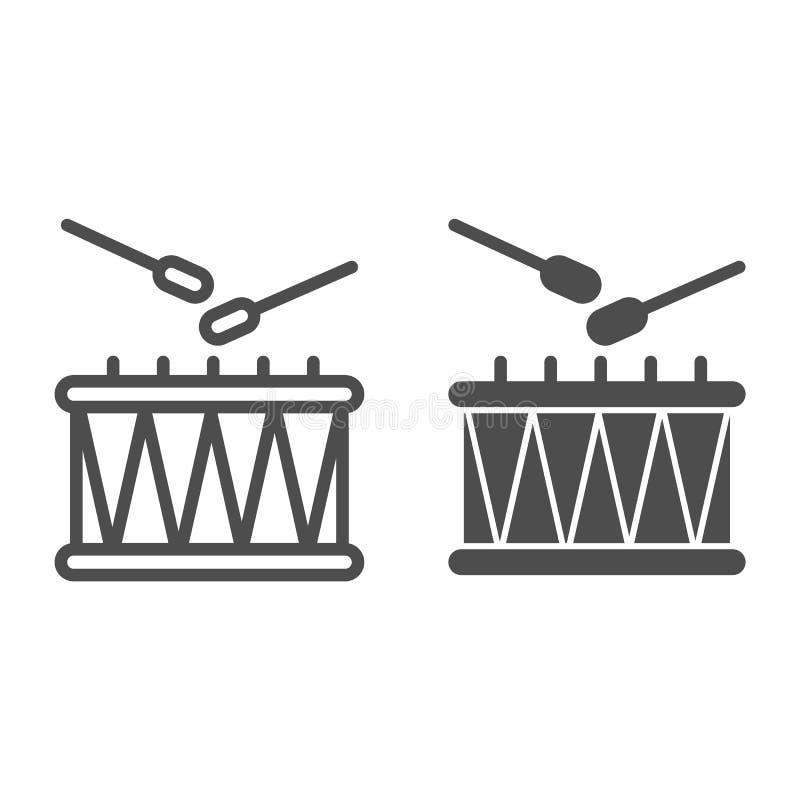 Il tamburo ed i bastoni allineano e l'icona di glifo Illustrazione di vettore dello strumento di musica isolata su bianco Progett royalty illustrazione gratis