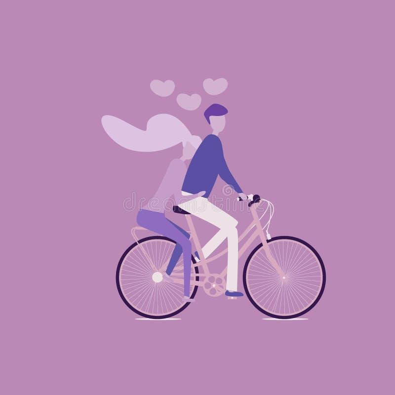 Il tandem di guida appena della coppia sposata della sposa e dello sposo va in bicicletta illustrazione di stock