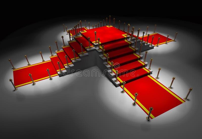 Il tappeto rosso è sulla scala bianca illustrazione di stock