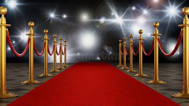 Il tappeto rosso ed il velluto ropes sul fondo di notte di galà illustrazione 3D illustrazione vettoriale