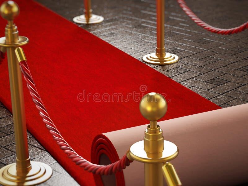 Il tappeto rosso ed il velluto ropes sul fondo di notte di galà illustrazione 3D illustrazione di stock