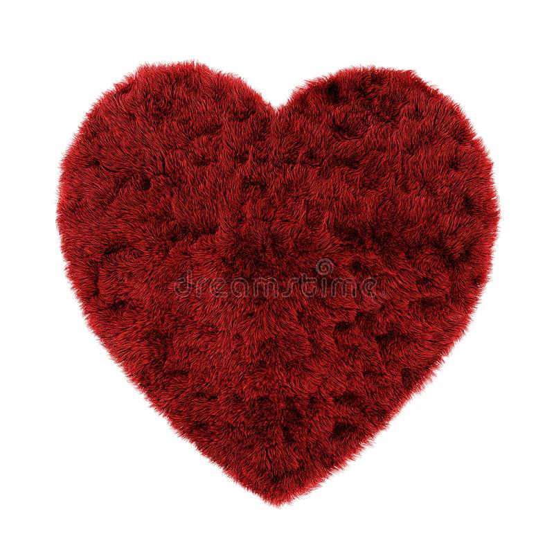 Il tappeto rosso sotto forma di un cuore fatto di lana ha isolato il fondo 3d illustrazione vettoriale
