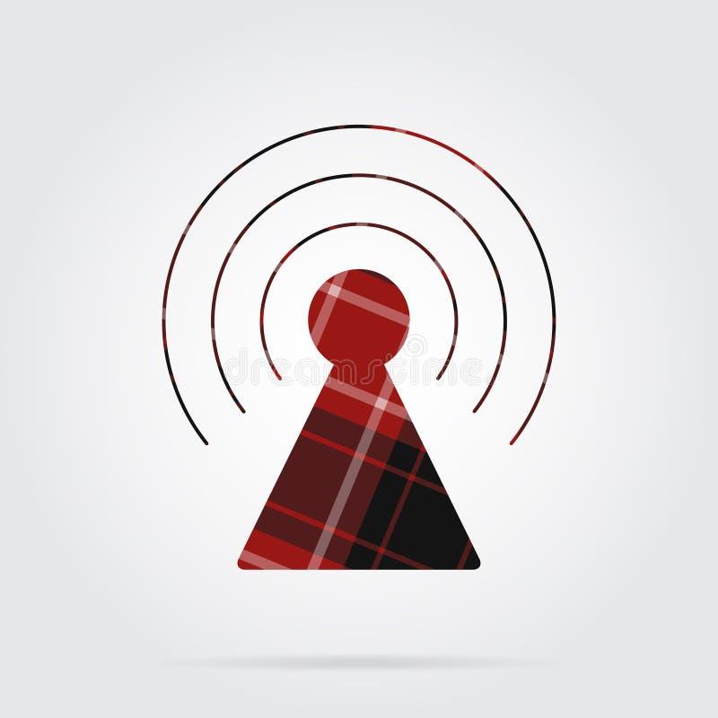 Il tartan rosso e nero ha isolato l'icona, torre del trasmettitore illustrazione di stock