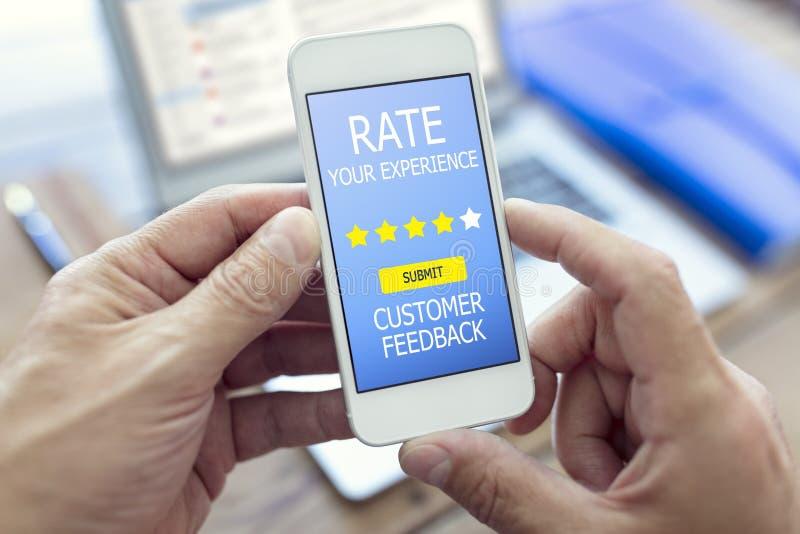 Il tasso della forma di feedback dei clienti avvertite la valutazione della stella fotografia stock libera da diritti