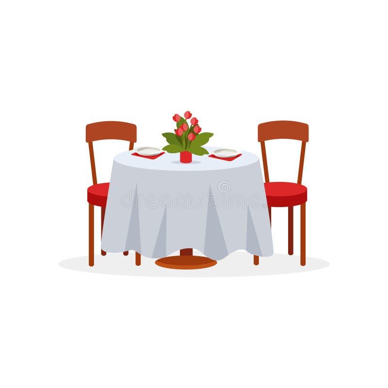 Il tavolo da pranzo e le sedie per due genti, cena romantica per le coppie nell'amore vector l'illustrazione su un fondo bianco royalty illustrazione gratis
