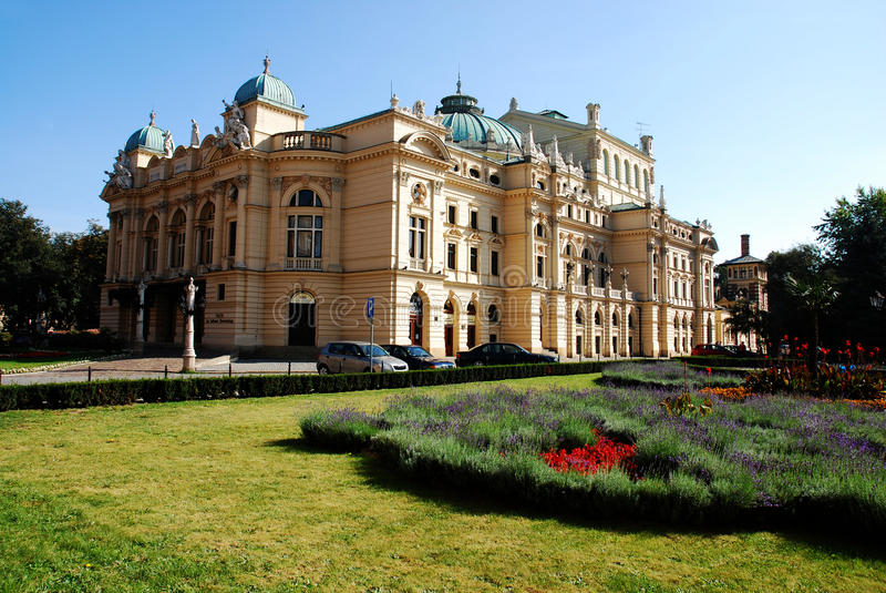 Il teatro barrocco di stile sviluppato in 1892 a Cracovia fotografia stock libera da diritti