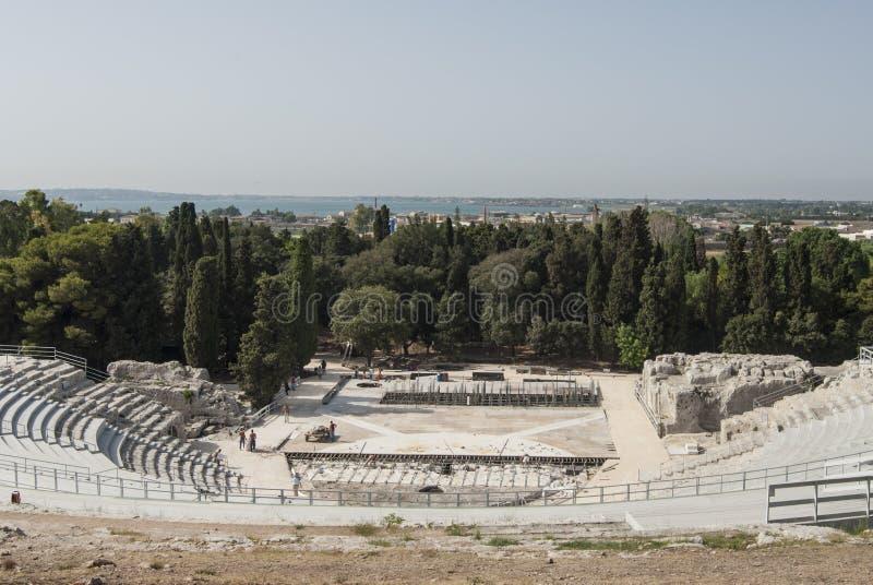 Il teatro greco Siracusa Sicilia Italia Europa immagini stock libere da diritti