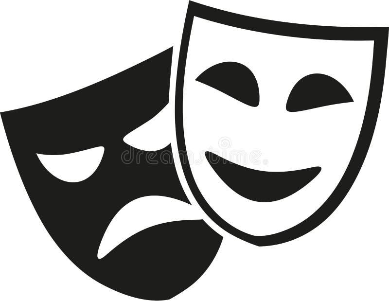 Il teatro maschera in bianco e nero illustrazione vettoriale