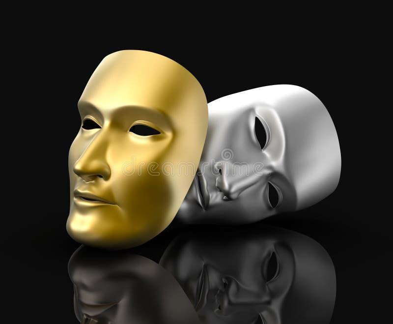 Il teatro maschera il concetto. Su fondo nero. illustrazione di stock