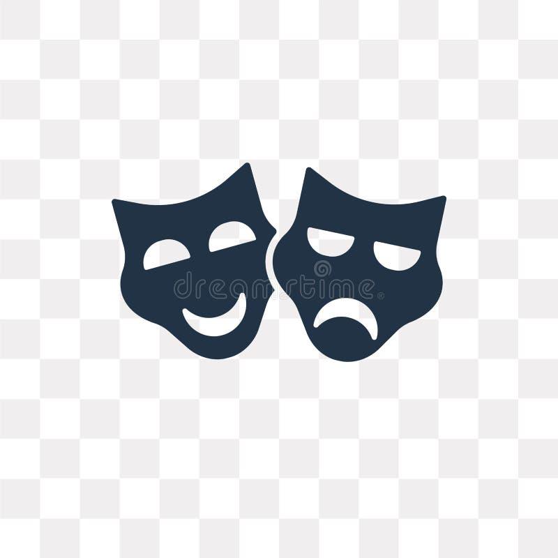 Il teatro maschera l'icona di vettore isolata su fondo trasparente, Th royalty illustrazione gratis