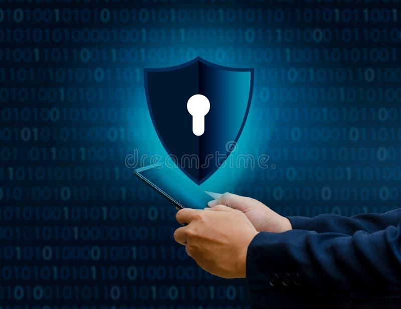 Il telefono binario Smartphone di Internet dello schermo è protetto del pirata informatico di attacchi della stampa della parete  immagini stock