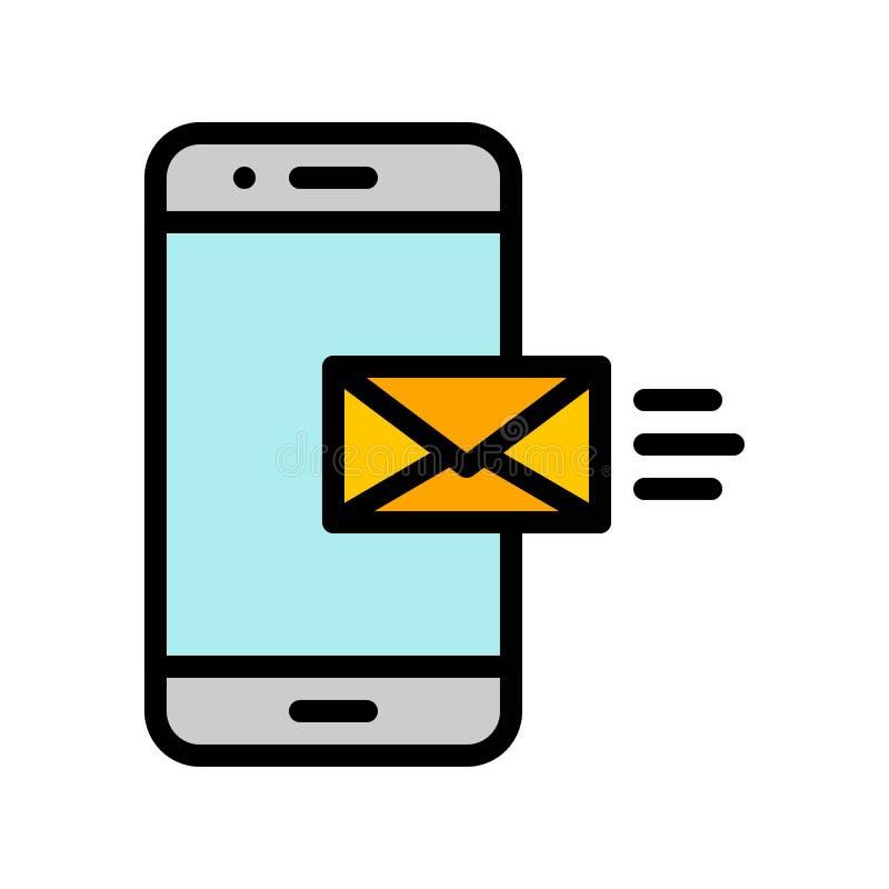 Il telefono cellulare con il vettore della posta, media sociali ha riempito l'icona editabile del colpo royalty illustrazione gratis