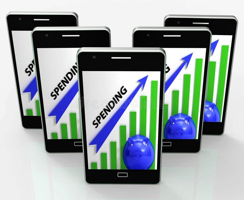 Il telefono del grafico di spesa significa le spese e la spesa di costi illustrazione di stock